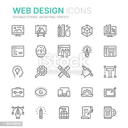 istock Collection of web design and development related line icons. 48x48 Pixel Perfect. Editable stroke 1199268950