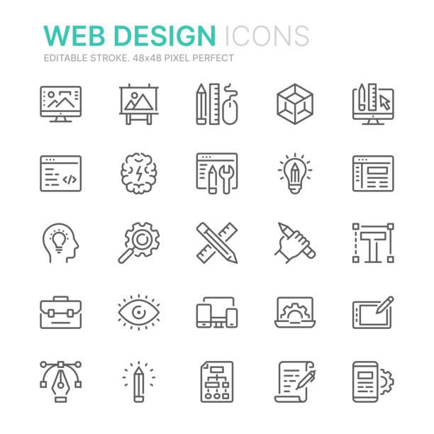 웹 디자인 및 개발 관련 라인 아이콘의 컬렉션입니다. 48x48 픽셀 완벽한. 편집 가능한 스트로크 - 컴퓨터 그래픽 stock illustrations