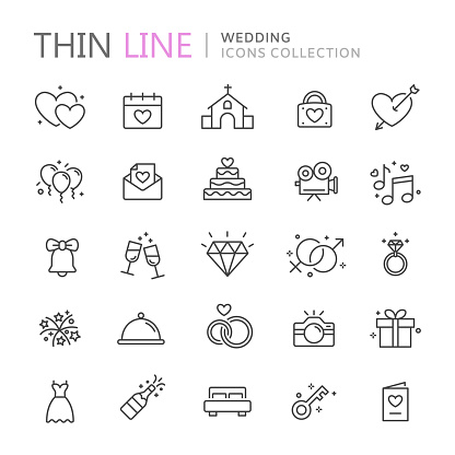 Collection of wedding thin line icons clipart