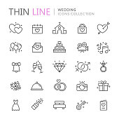 Collection of wedding thin line icons. Vector eps 10