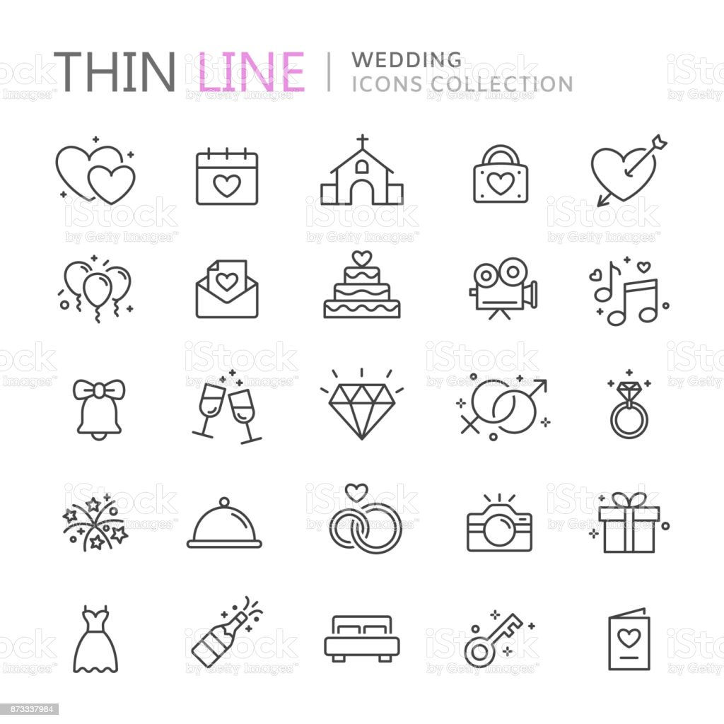 Coleção de ícones de linha fina de casamento - ilustração de arte em vetor