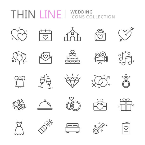 illustrazioni stock, clip art, cartoni animati e icone di tendenza di collection of wedding thin line icons - matrimonio