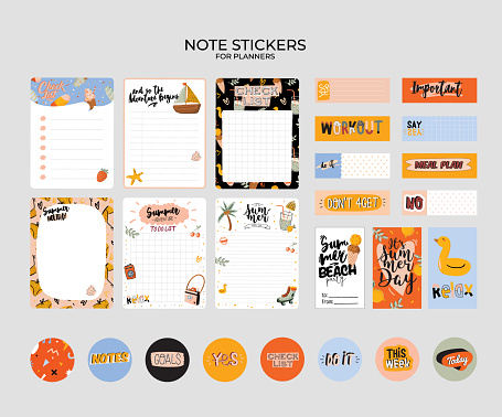 Collection of weekly and daily planners, sheet for notes and to do lists with summer  illustrations and lettering