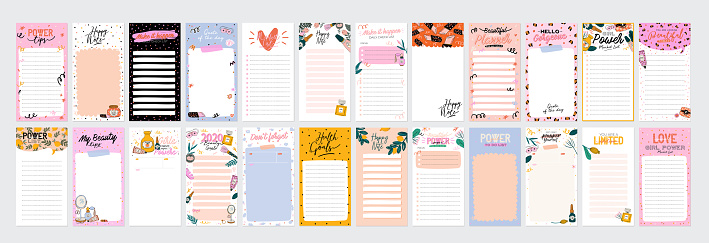 Collection of weekly or daily planner, note paper, to do list, stickers