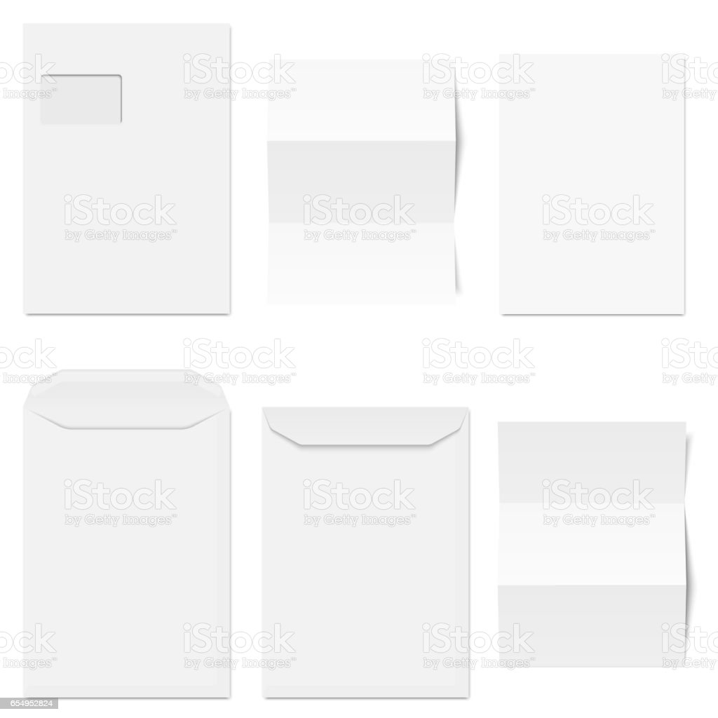 Collection of white envelopes with copy paper vector art illustration