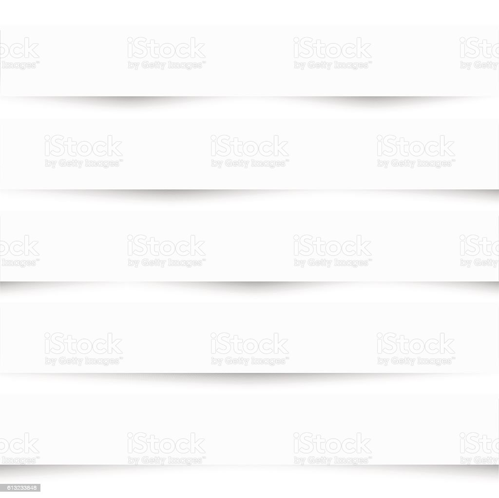 Collection of white note papers with different shadows vector art illustration