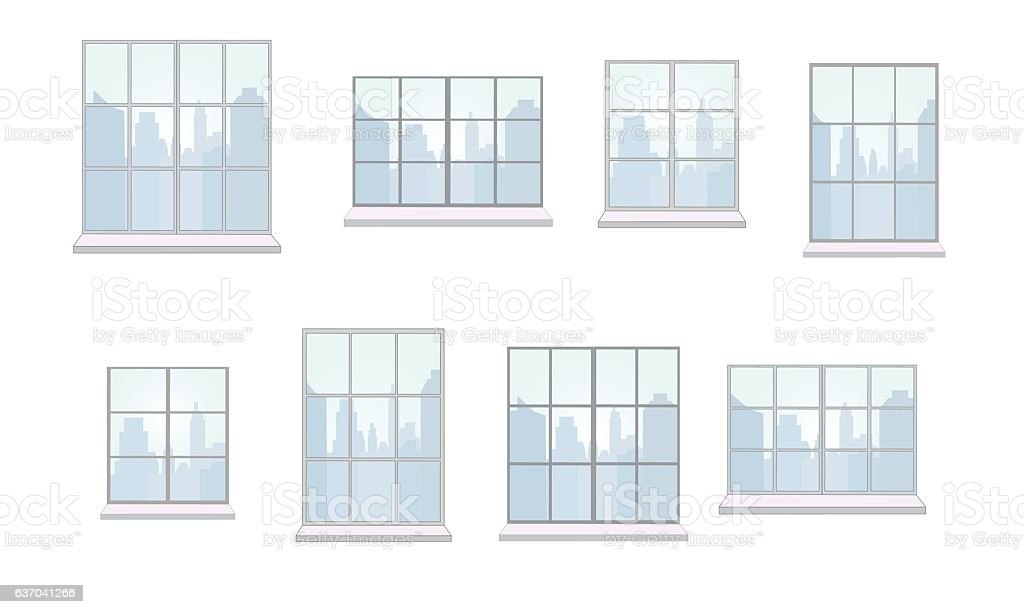 Collection of window frames  various shapes vector art illustration