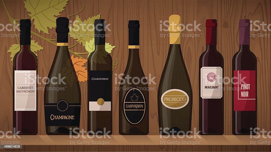 Collection of wine bottles vector art illustration