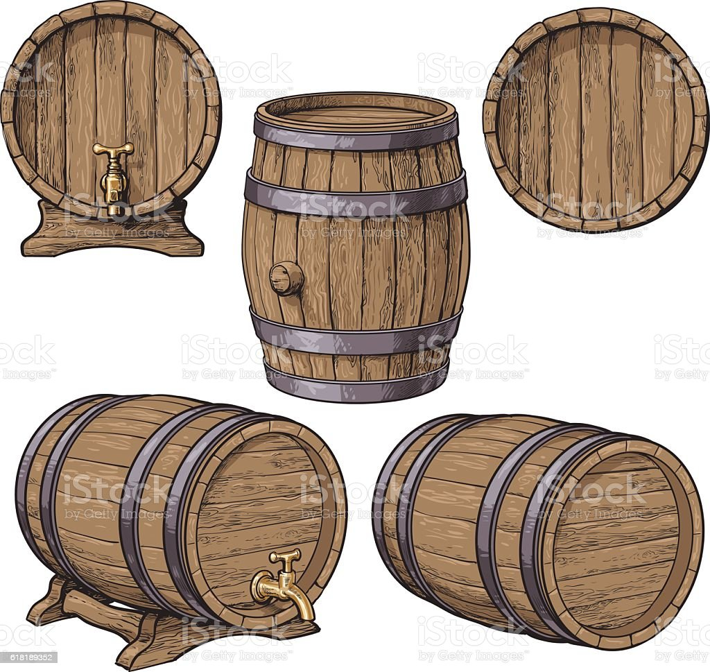 Collection of wine, rum, beer classical wooden barrels vector art illustration