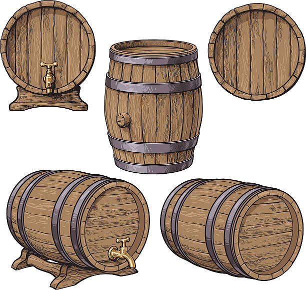 collection of wine, rum, beer classical wooden barrels - 배럴 stock illustrations