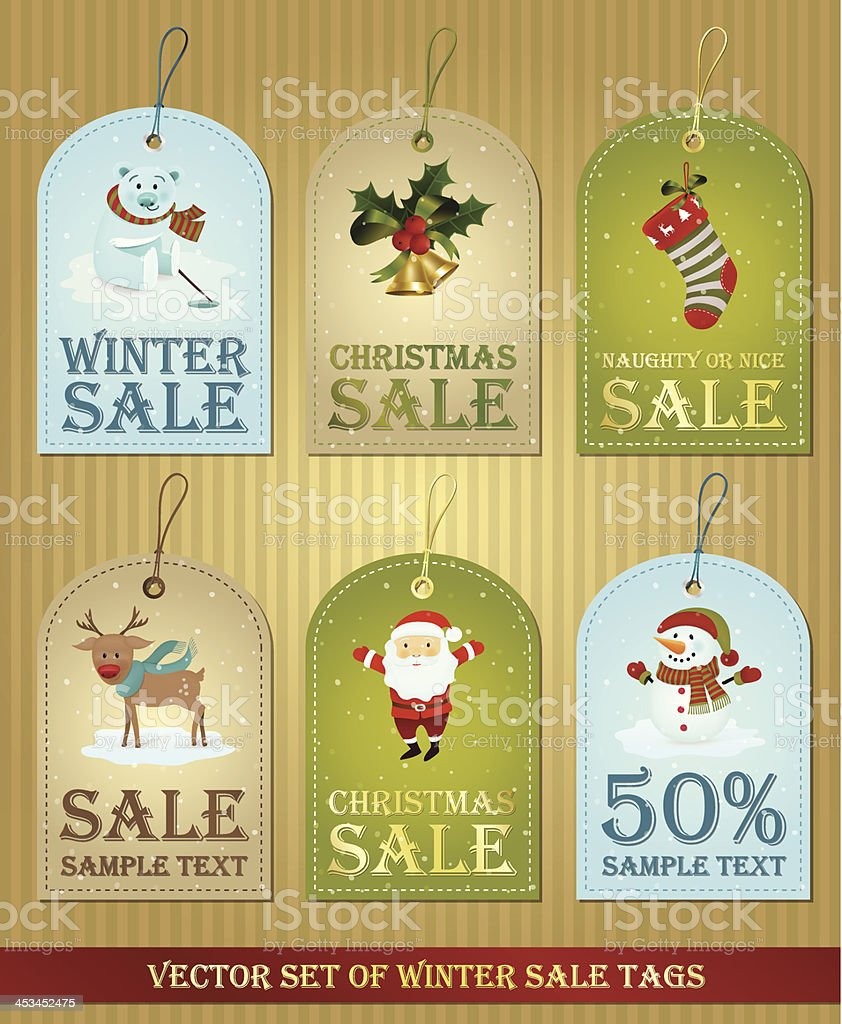 Set of various winter and Christmas labels with: polar bear,...