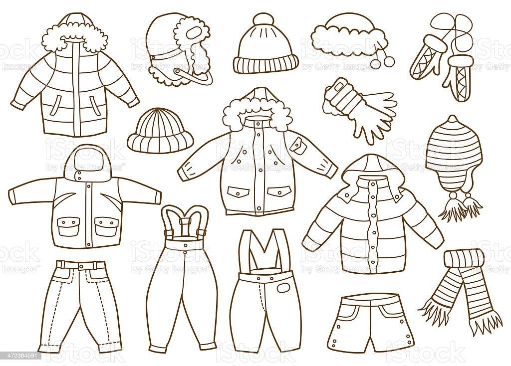 Ilustración De Colección De Invierno Ropa Para Niños Y Más Vectores