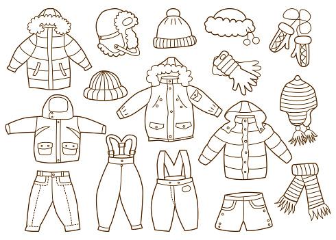 Ilustración de Colección De Invierno Ropa Para Niños y más Vectores Libres de Derechos de Abrigo