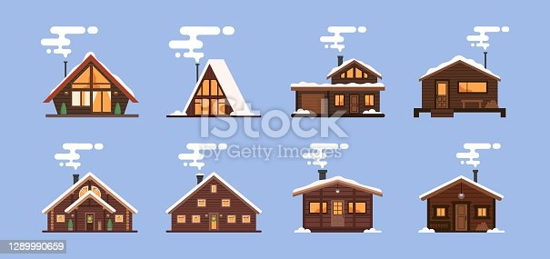 istock Collection of winter houses. Snow-covered Christmas houses and country cottages, alpine chalet, mountain house. Cartoon style, flat illustration. For websites, wallpapers, posters or banners 1289990659