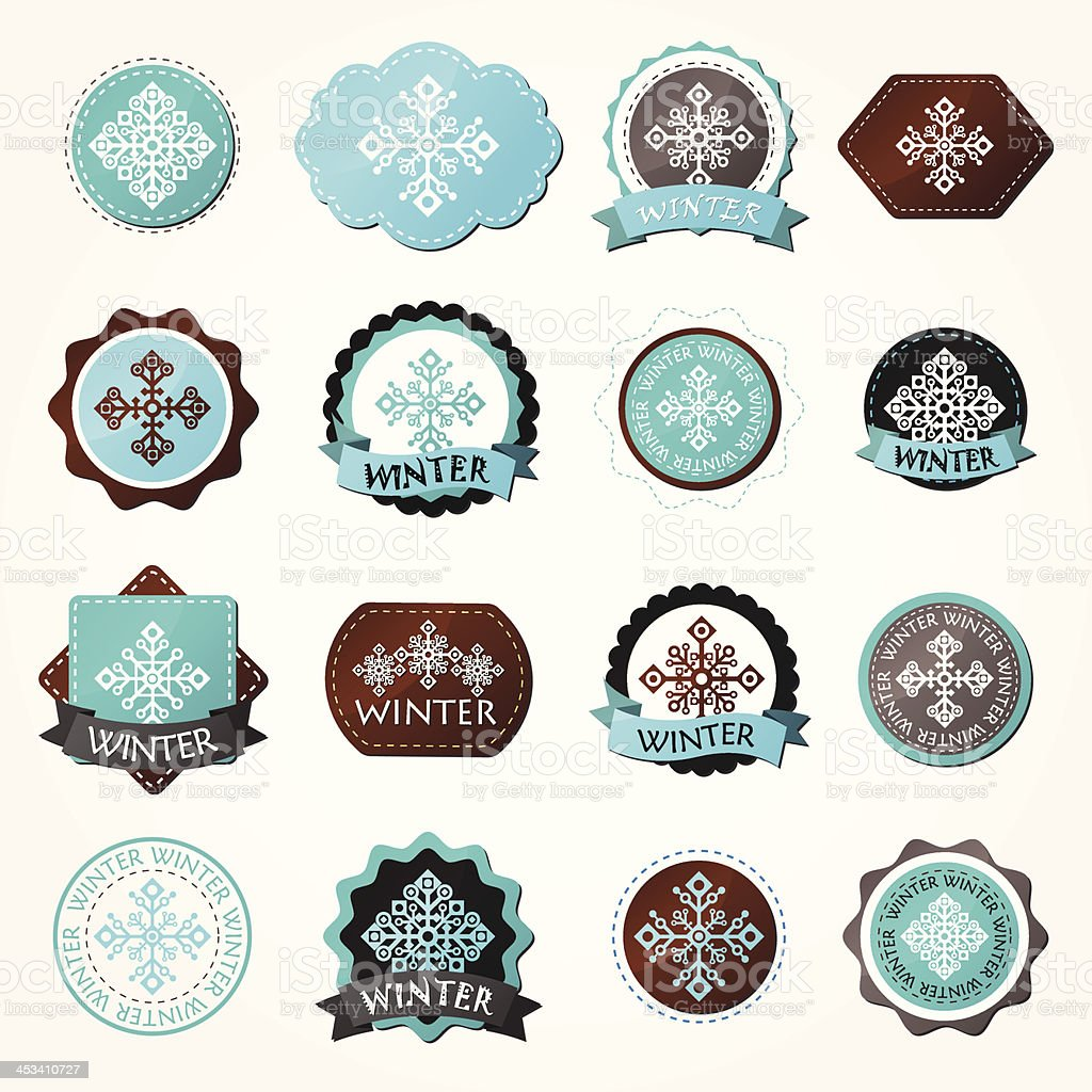 Set of various winter labels with snowflakes.