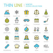 Collection of winter thin line icons