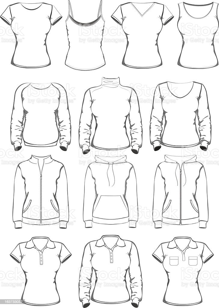 Collection of women clothes outline templates royalty-free stock vector art