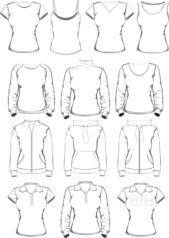 Collection Of Women Clothes Outline Templates Stock