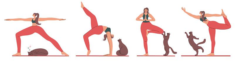 Coleção de mulheres fazendo ioga.