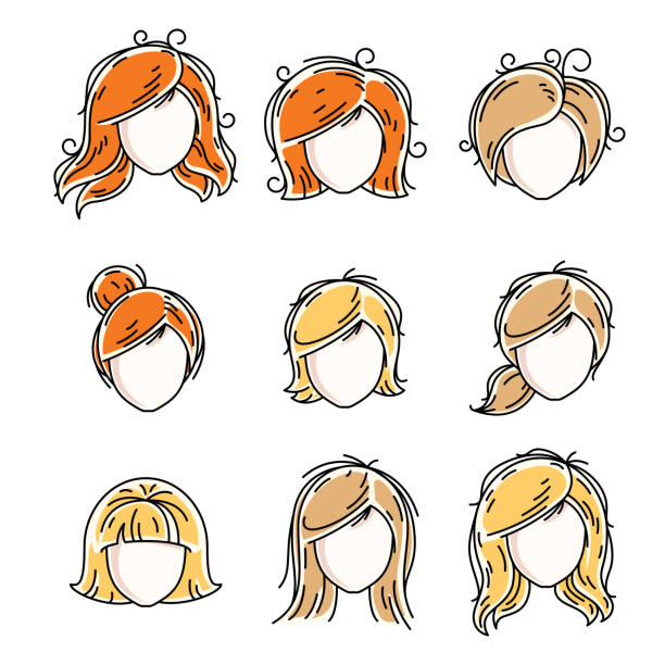 collection of women faces, human heads. diverse vector characters like red-haired and blonde females, beautiful ladies visage clipart and user profile. - redhead stock illustrations