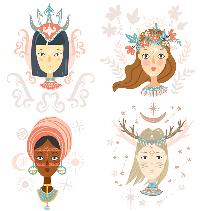 Collection of women portraits, mystical hairstyles
