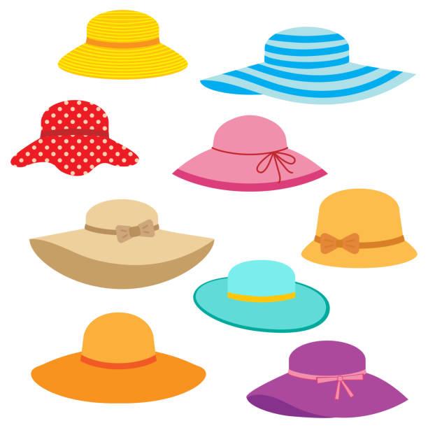 bildbanksillustrationer, clip art samt tecknat material och ikoner med samling av kvinnors sommar hattar - hatt