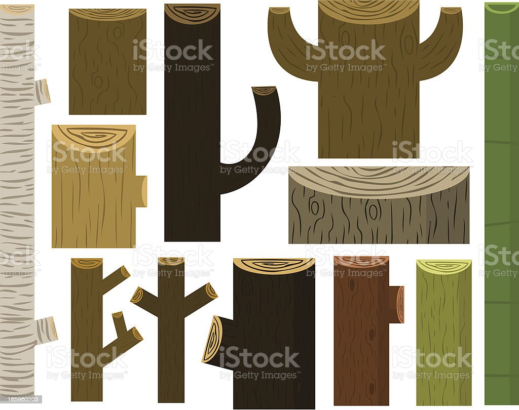 Collection of Wood vector art illustration
