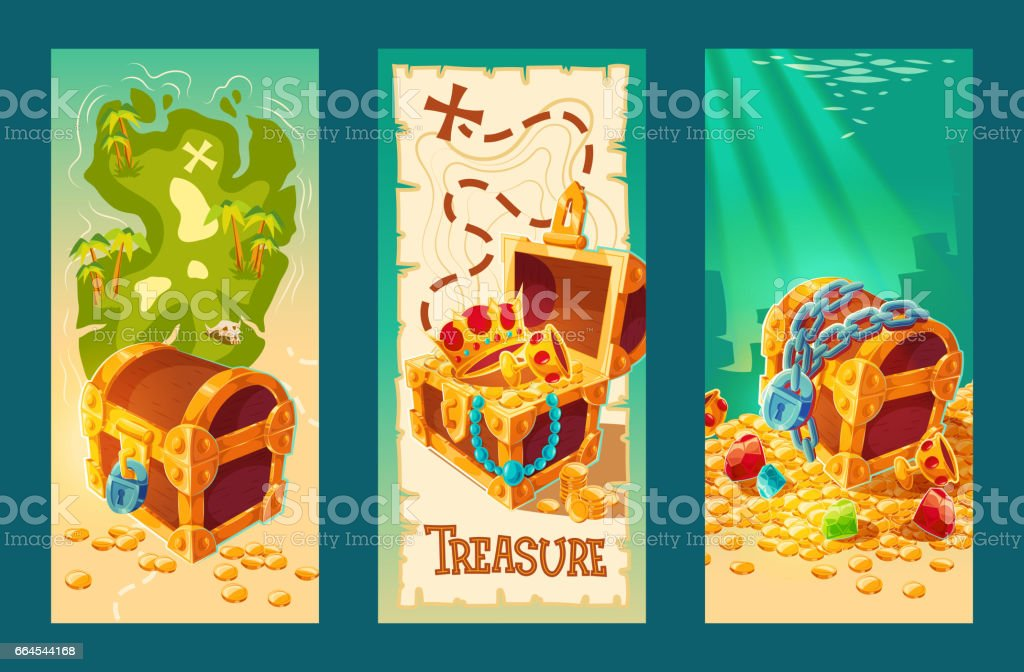 Collection of wooden chests with treasures on the background of a treasure map and on the seabed. vector art illustration