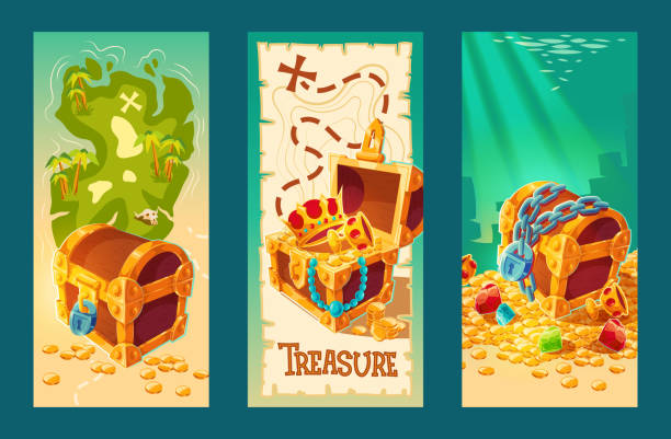 Collection of wooden chests with treasures on the background of a treasure map and on the seabed. Collection of isolated vector cartoon vintage banners with wooden chests full of treasures, gold coins and jewelry on the background of a treasure map and on the seabed. antiquities stock illustrations
