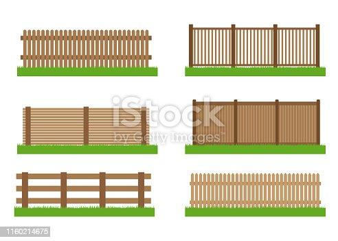 Collection of wooden fence vector set elements for design isolated on white background