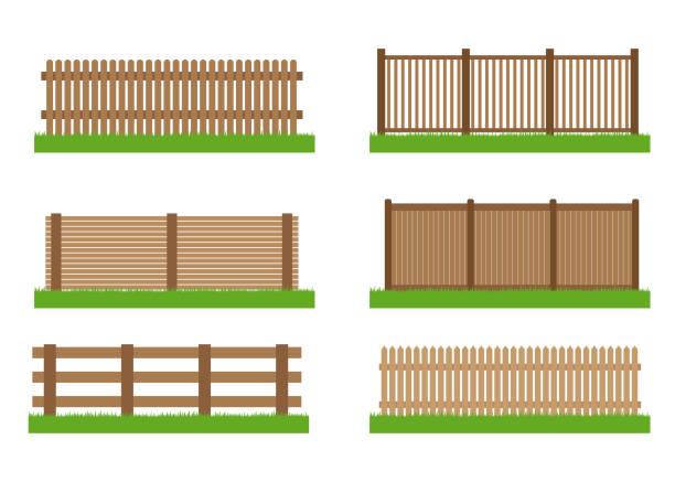 stockillustraties, clipart, cartoons en iconen met collectie van houten hek vector set elementen voorontwerp geïsoleerd op witte achtergrond - hek