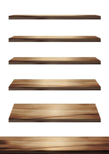 illustrazioni stock, clip art, cartoni animati e icone di tendenza di collection of wooden shelves on an isolated white background, vector illustration display product design - tavolo legno
