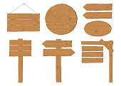 Collection of wooden signboard vector set on white background