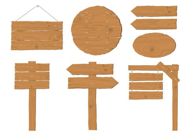 stockillustraties, clipart, cartoons en iconen met collectie houten uithangbord vector set op witte achtergrond - wegwijzer bord