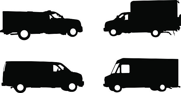 Collection of work trucks and service vehicles vector art illustration