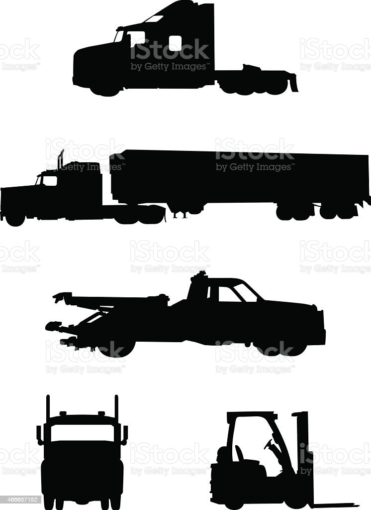 Collection of work trucks and vehicles vector art illustration