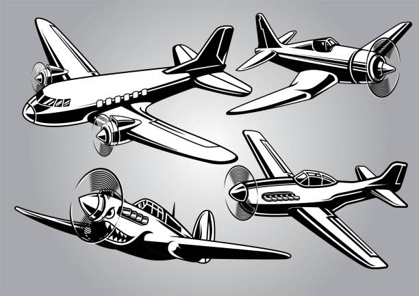 collection of world war 2 military aircraft - world war ii stock illustrations, clip art, cartoons, & icons