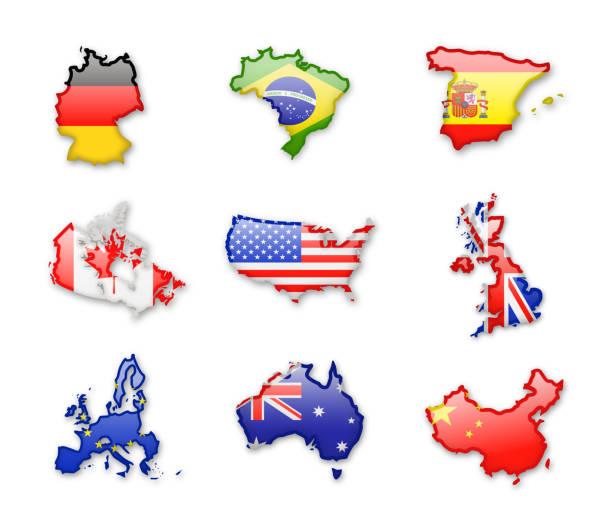 sammlung der größten länder der welt. vektor-icons. - flagge kanada stock-grafiken, -clipart, -cartoons und -symbole