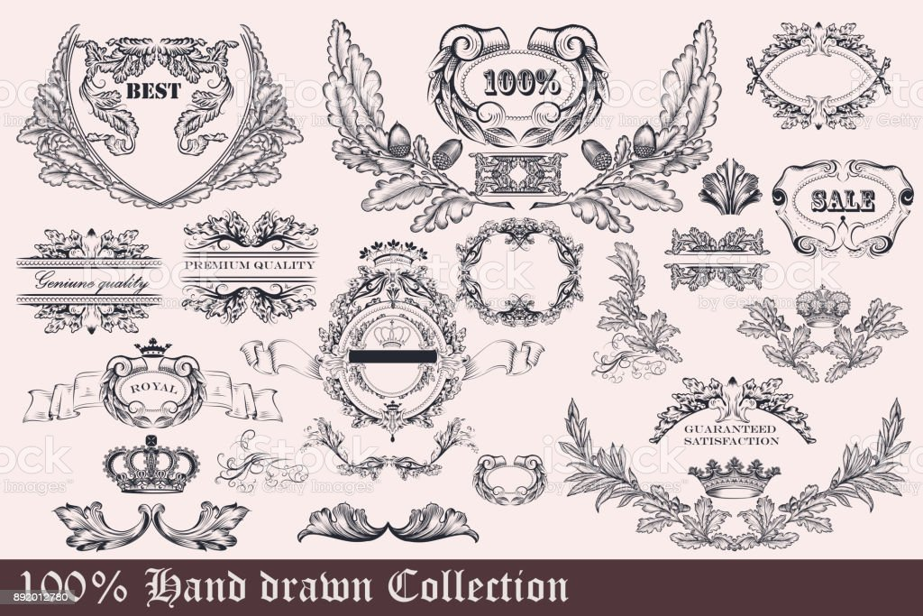 Collection of wreath, frames and ornaments for design. Hand drawn set vector art illustration