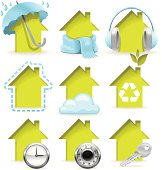 A collection of yellow housing icons