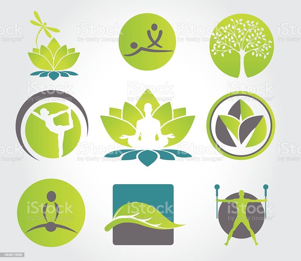 Collection of yoga, zen, meditation icons vector art illustration