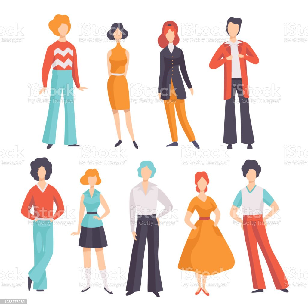 Collection Of Young Men And Women Wearing Vintage Clothing Retro Fashion People From 70s Vector