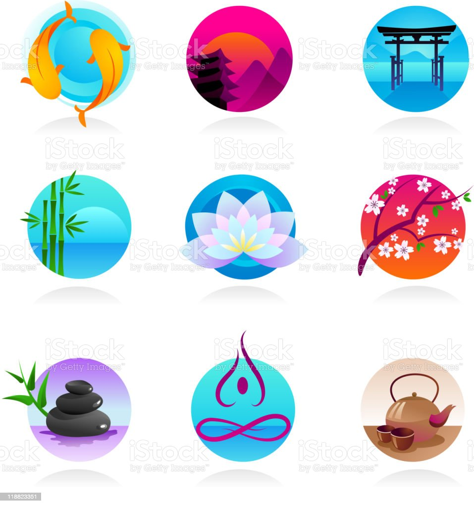 collection of Zen, yoga and meditation icons vector art illustration