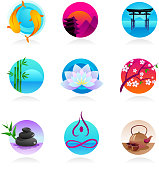 collection of Zen, yoga and meditation icons