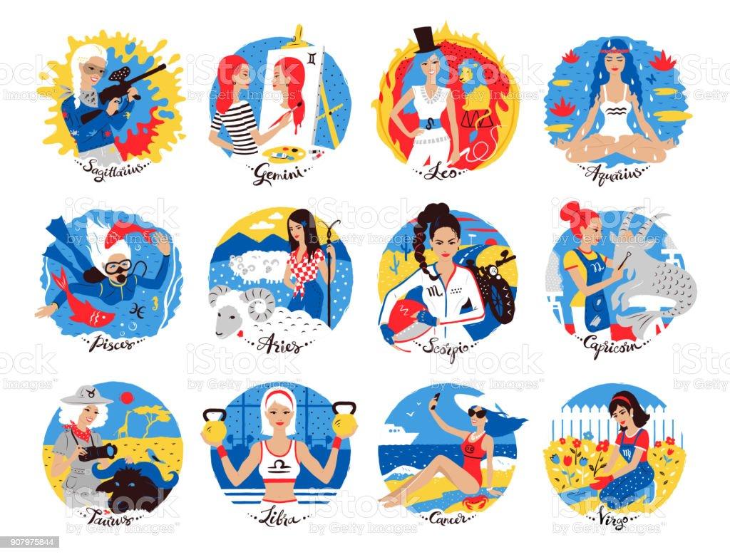 Collection des signes du zodiaque - Illustration vectorielle