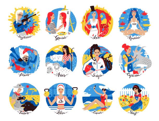 illustrations, cliparts, dessins animés et icônes de collection des signes du zodiaque - pisces zodiac