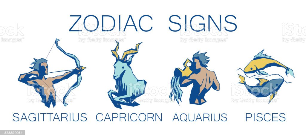 Collection of Zodiac Signs. Vector Illustration of Third Four Zodiacal Simbols. vector art illustration