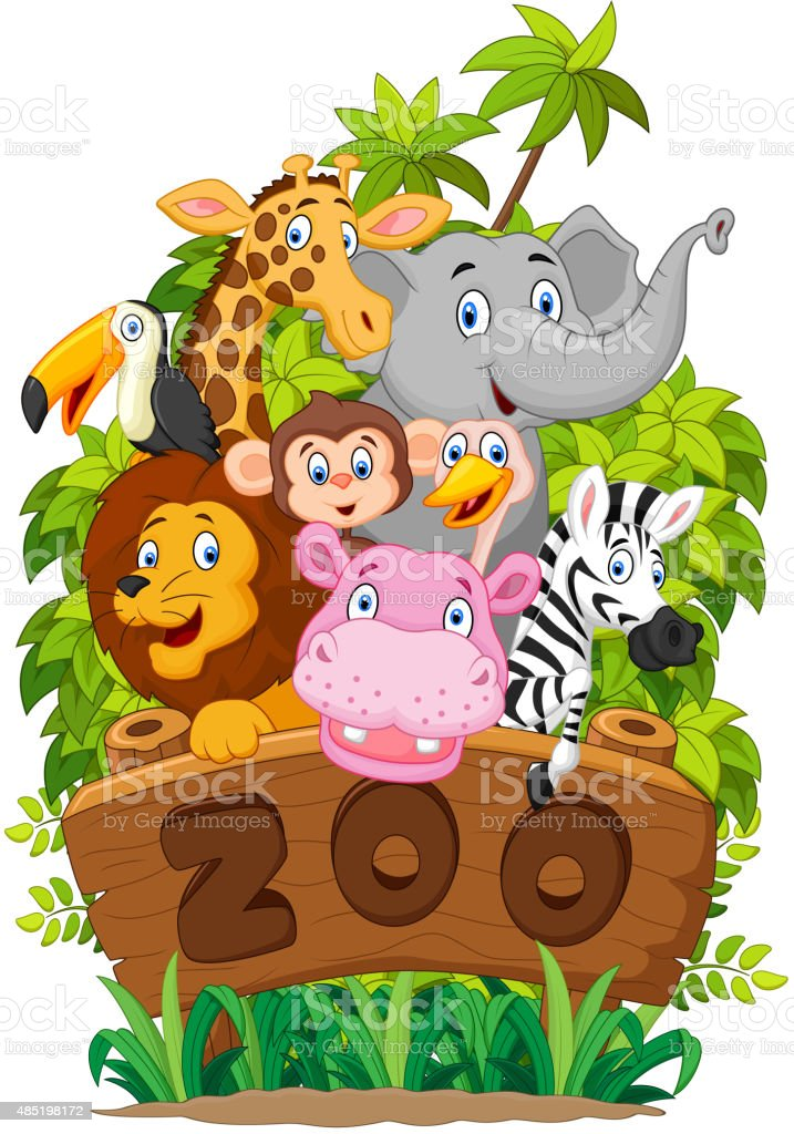 illustration of Collection of zoo animals