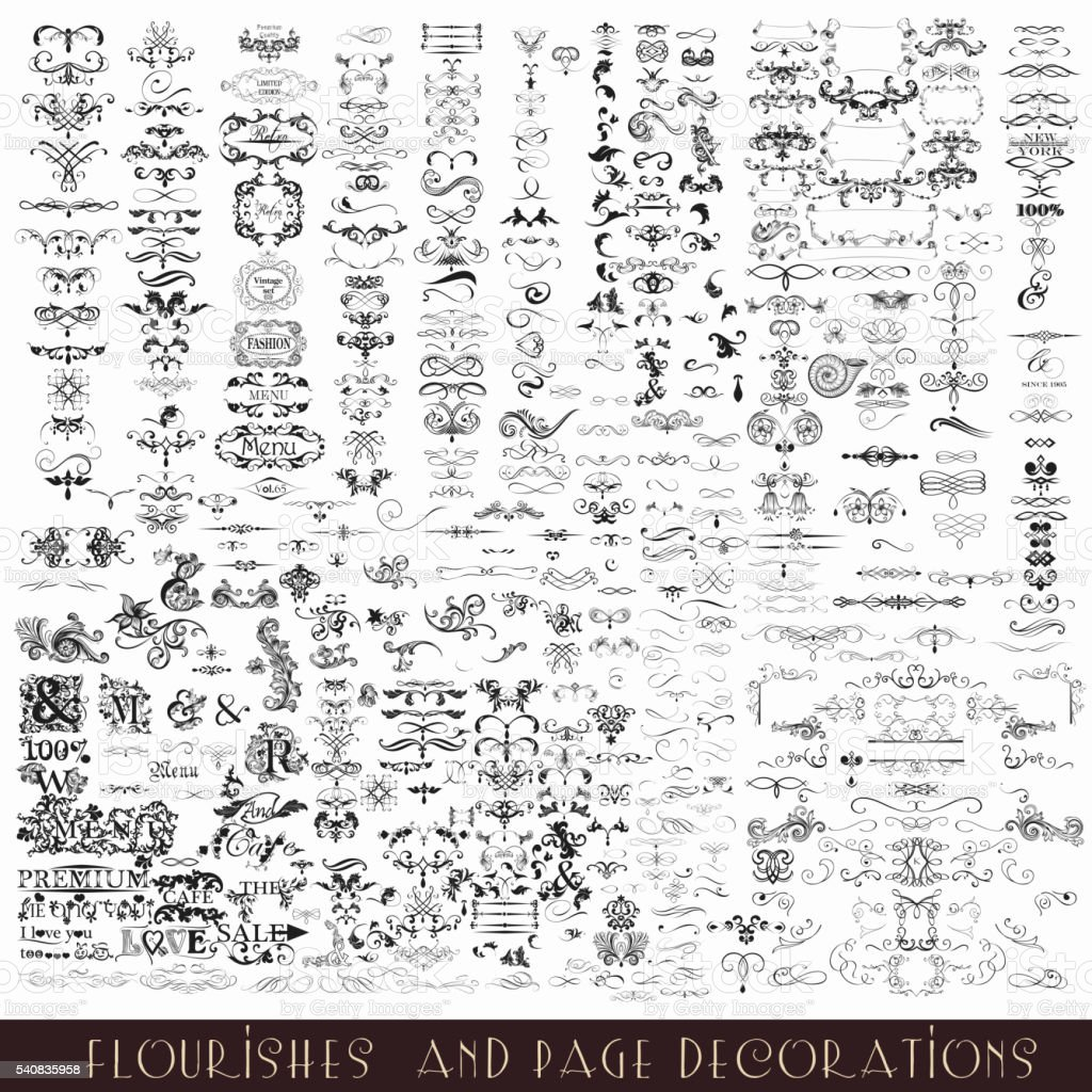 Collection or mega set of vector decorative flourishes and