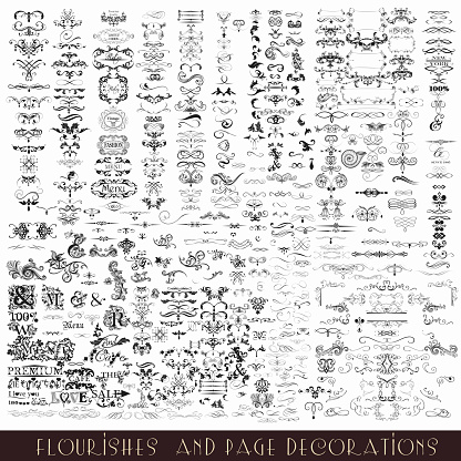 Collection or mega set of vector decorative flourishes and calligraphic